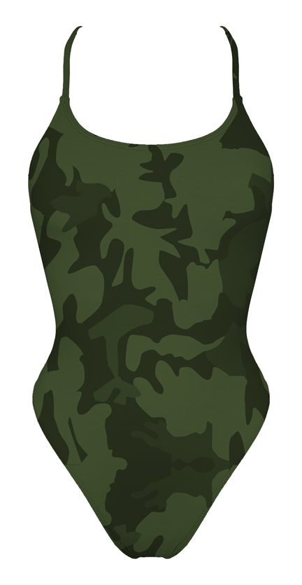 Tie Back Green Camo Swimsuit