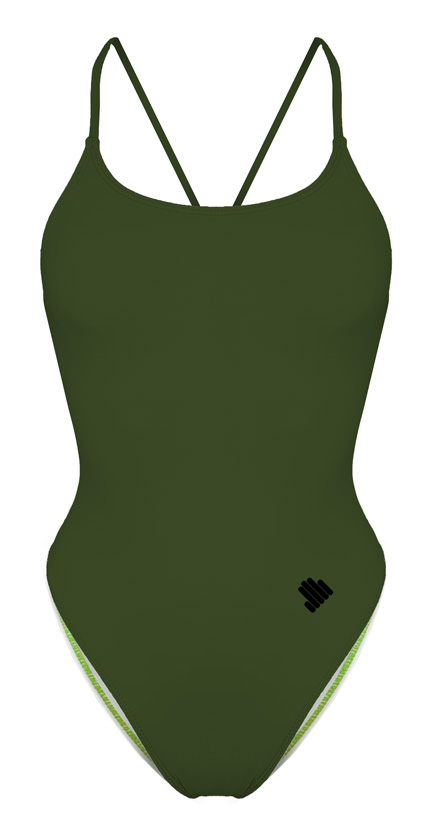 Tie Back Army Green Swimsuit