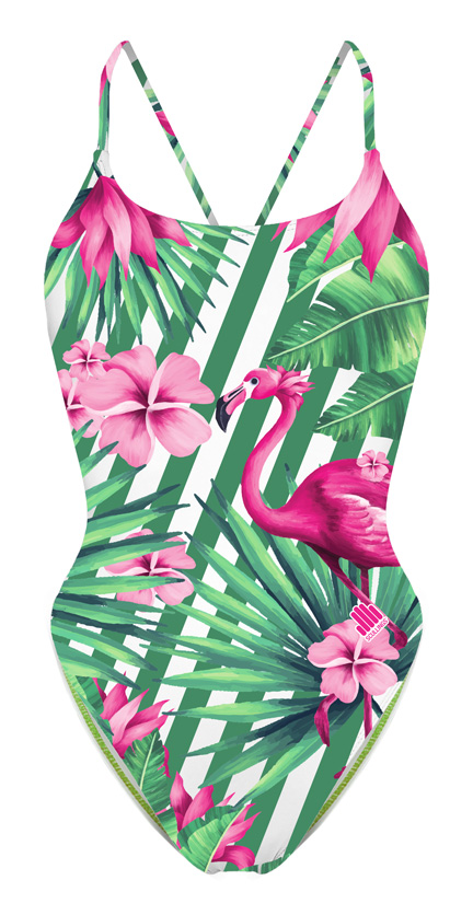 Tie Back Pink Flamingo Swimsuit