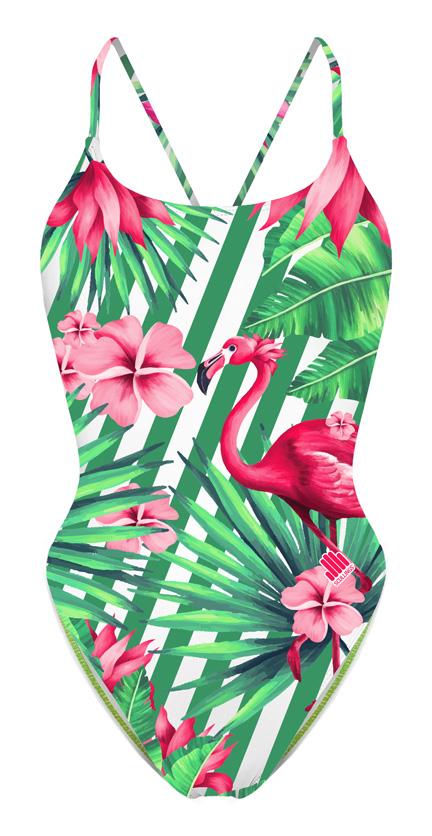 Fato de Banho Flamingo Rosa Open Back